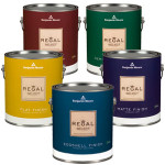 cans of benjamin moore paints in different paint finishes