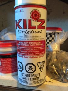 kilz stainblocker in spray can format is good for small spots or stains
