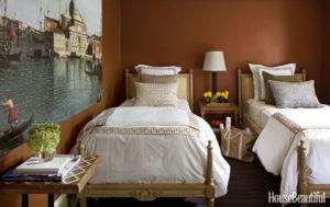 brown painted bedroom
