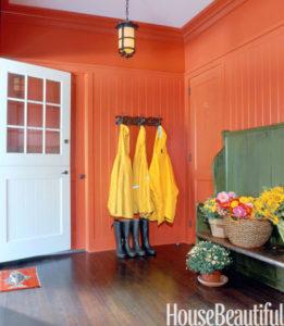 painted mudroom, orange paint in a room