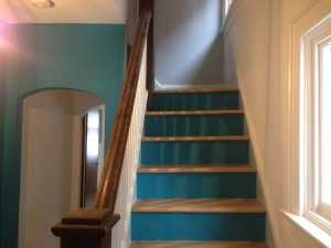 hallway and stairs in dark blue paint colour